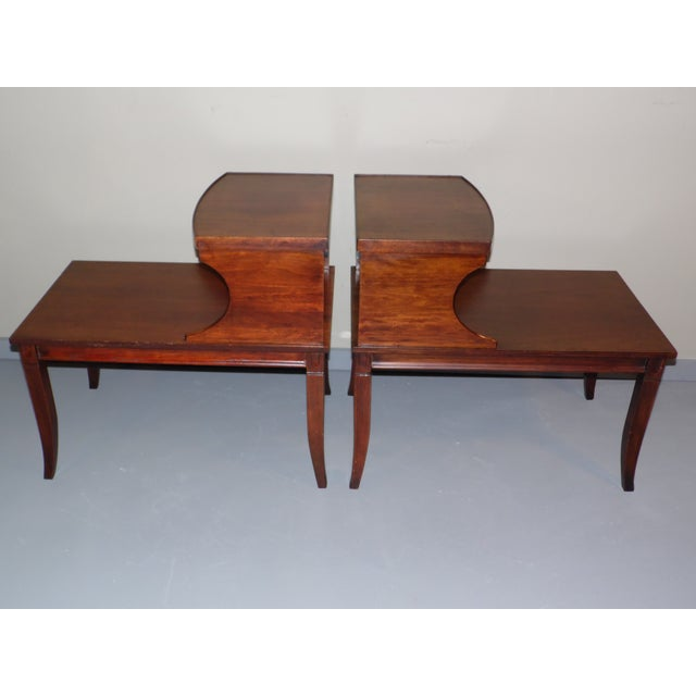 1940s Vintage Federal Style Step Sabre End Tables - A Pair For Sale - Image 5 of 10