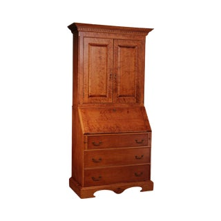 Birdseye Maple Chippendale Style Custom Quality Secretary Desk For Sale