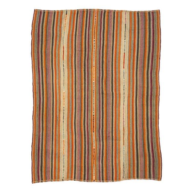 1960s Vintage Colorful Striped Turkish Kilim Rug- 5′11″ × 8′ For Sale