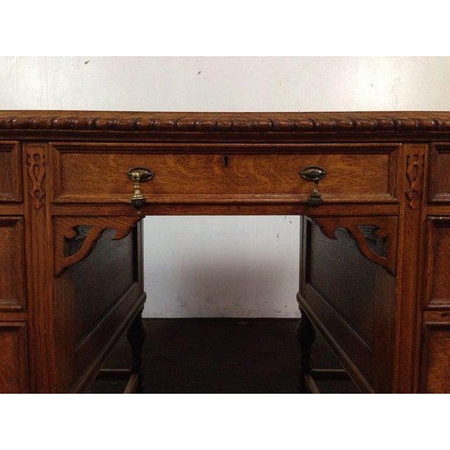 Antique English Tiger Oak Carved Desk - Image 5 of 10