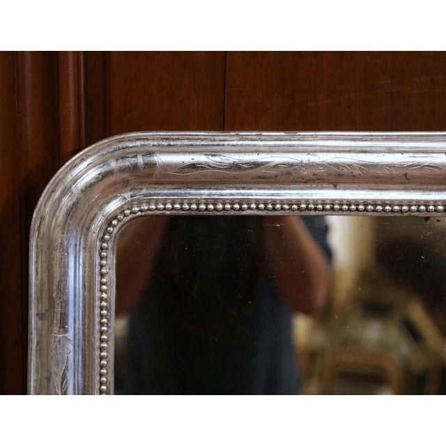 Late 19th Century 19th Century French Louis Philippe Silver Mirror With Engraved Floral Decor For Sale - Image 5 of 8