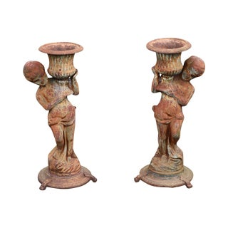 Antique Pair of Cast Iron Garden Statue Planters with Cherubs Holding Urns For Sale