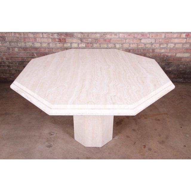 Modern Modern Italian Travertine Octagonal Pedestal Dining or Center Table For Sale - Image 3 of 10