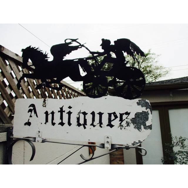 """Rusty Iron """"Antiques"""" Trade Sign Pegasus Horse - Image 4 of 11"""