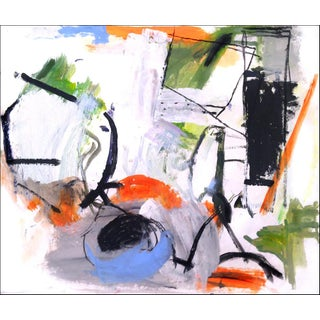 Large Colorful Abstract Contemporary Mixed Media Painting on Paper For Sale