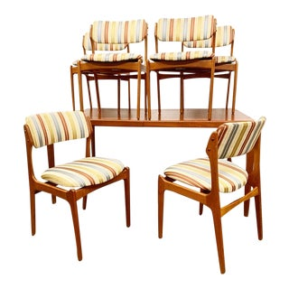 Danish Modern Dining Set Table and 6 Chairs by Erik Buch For Sale