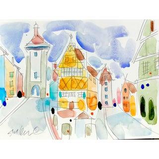 "European Town C, Original Watercolor, 9x12"" For Sale"