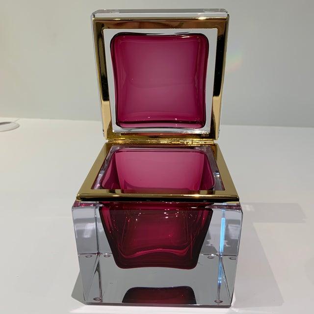 Magenta Italian Mandruzzato Murano Glass Hinged Box For Sale - Image 9 of 11