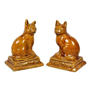 Brown Stoneware Cats - a Pair For Sale