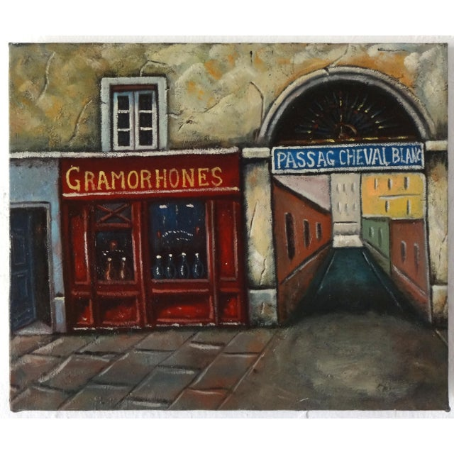 Red Vintage Painting of Paris, France, Storefronts and the Passage Du Cheval Blanc For Sale - Image 8 of 8