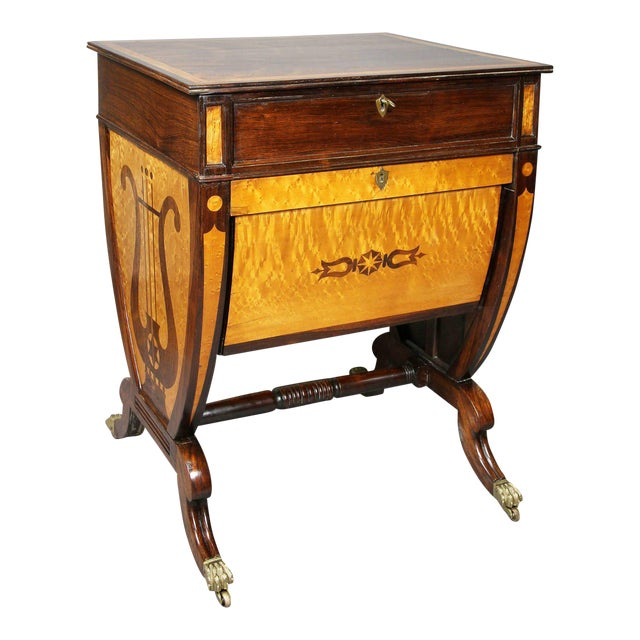 Unusual Regency Rosewood and Bird's-Eye Maple Music Table For Sale