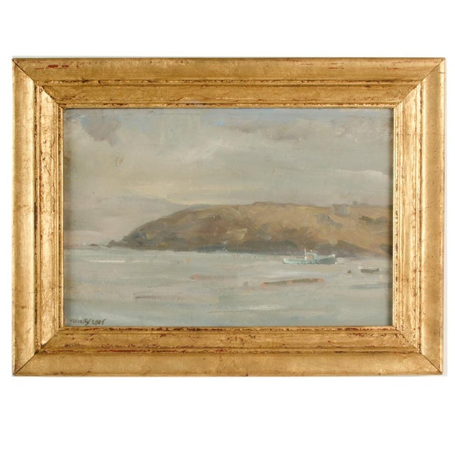 """Canvas """"Misty Morning"""" Contemporary Coastal Landscape Oil Painting by Theodore Tihansky, Framed For Sale - Image 7 of 7"""