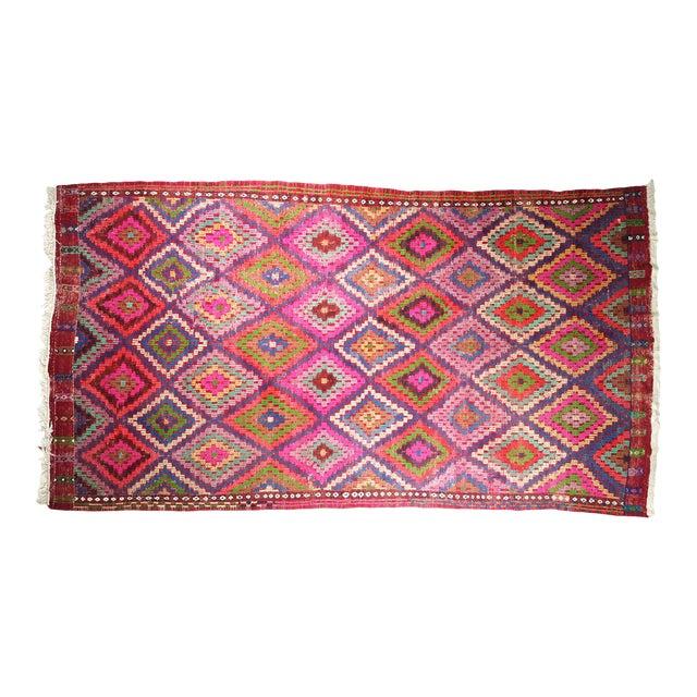 Mid Century Turkish Oushak Vintage Kilim Rug For Sale