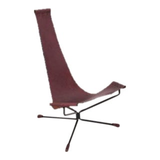 Pair of Dan Wenger Lotus Chair in Leather and Metal For Sale