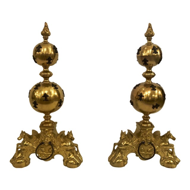 Pair Unique Estate Brass Andirons With 'Fleur De Lis' Design. For Sale