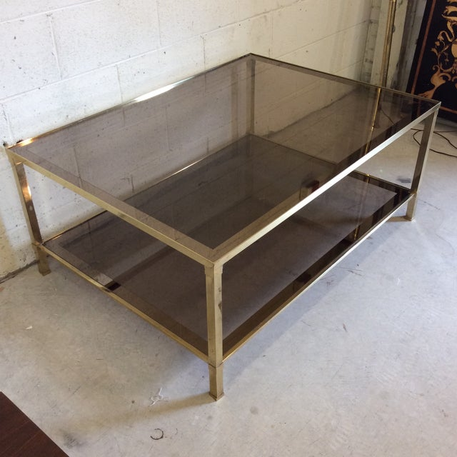 Italian 1970s Italian Brass & Smoke Glass Two Tiered Coffee Table For Sale - Image 3 of 10