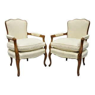 French Louis XV Style Fauteuil Armchairs White Upholstered Chairs - a Pair