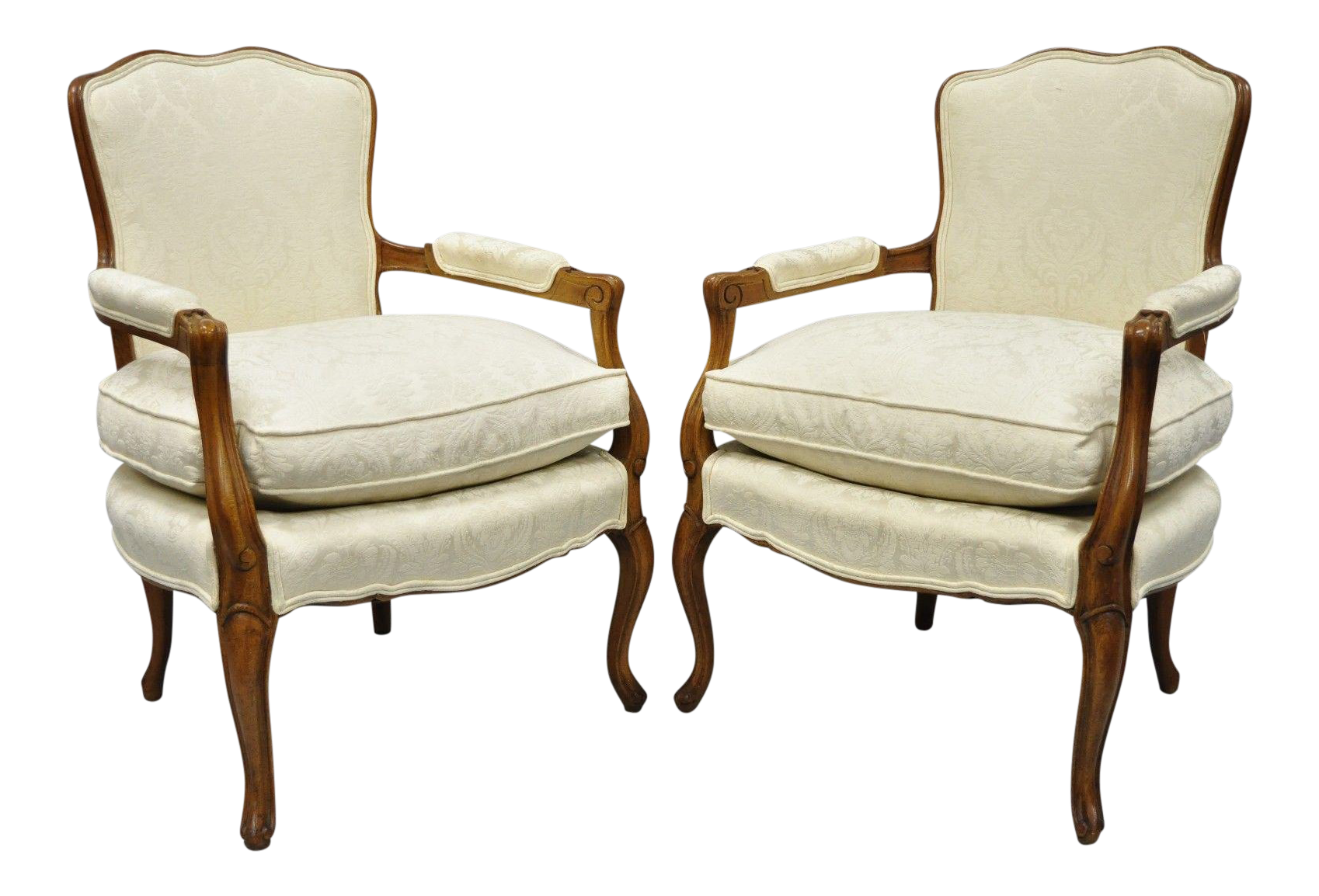 French Louis XV Style Fauteuil Armchairs White Upholstered Chairs   A Pair