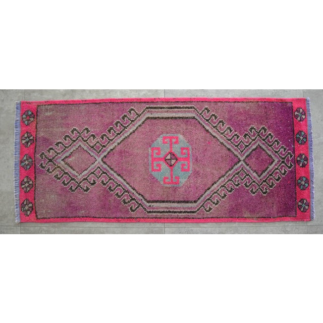 1970s Distressed Low Pile Turkish Yastik Petite Rug Low Pile Faded Mat - 17'' X 40'' For Sale - Image 5 of 5
