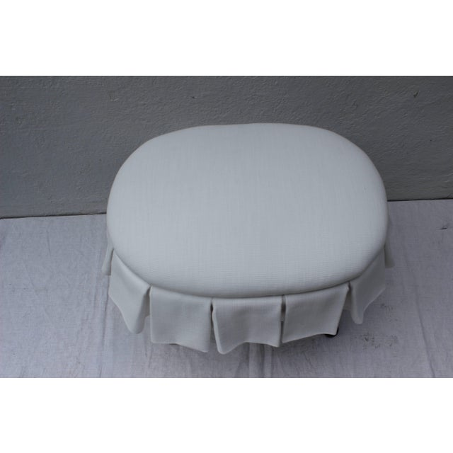 Ebonized Oval Stool With Box Pleated Skirt For Sale In New York - Image 6 of 8