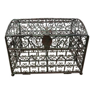 Vintage Wrought Iron Decorative Treasure Box Shaped 8 Bottle Wine Rack For Sale