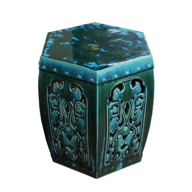 Ceramic Clay Green Turquoise Glaze Hexagon Motif Garden Stool Table - Image 5 of 7