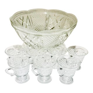 Large Crystal Cut Glass Pimms/Punch Bowl & Glasses For Sale