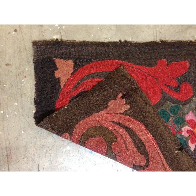 """Stitched Crewel Red & Brown Rug - 2'6"""" x 4'4"""" - Image 5 of 7"""