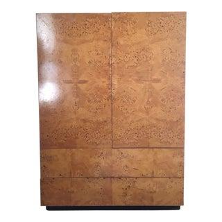 1970s Mid Century Modern Milo Baughman Burl Wardrobe Tallboy Dresser