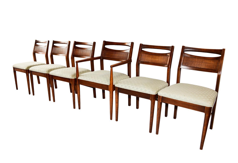 Mid Century Modern Six Walnut Dining Chairs American Of Martinsville