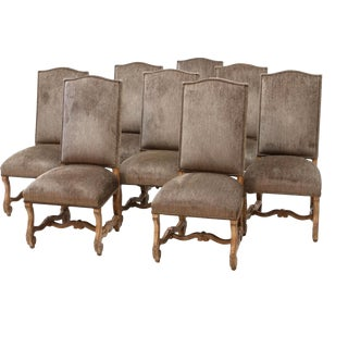 Carved High Back Dining Chairs - Set of 8 For Sale