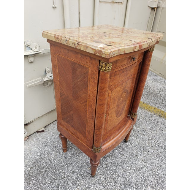 Gold 19th Century Empire Burl Walnut Marquetry Marble Top Antique Bedside Cabinet or Side Table For Sale - Image 8 of 13