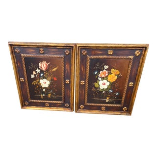 Pair of English Floral Still Life Paintings in the Style of Cecil Kennedy For Sale