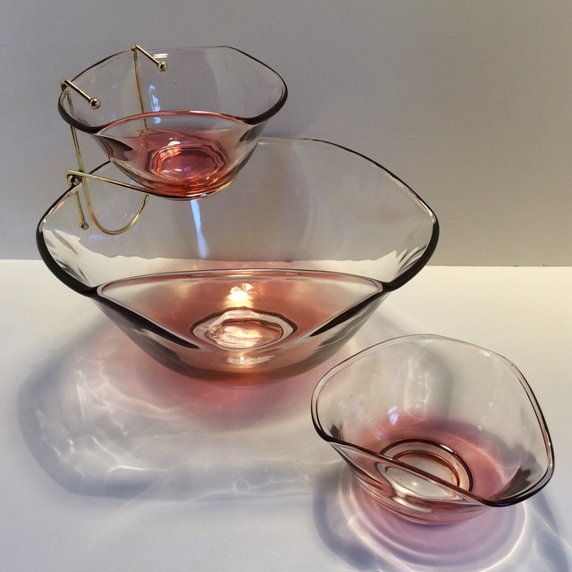 Mid-Century Modern Cranberry Red Chip & Dip with 2 Dip bowls For Sale - Image 11 of 11