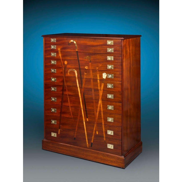 Early 20th Century Inlaid Mahogany Cane Cabinet For Sale - Image 5 of 6