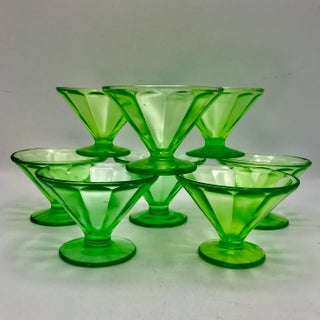 Antique Uranium Glass Optic Panel Sherbet Bowl or Champagne Saucer- Set of 8 Preview