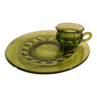 Mid-Century Avacodo Green Snack Dish Set - Set of 12 For Sale