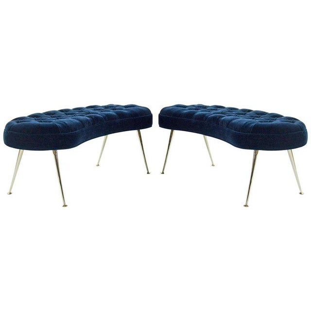 Tufted Benches in Deep Blue Mohair (Pair Available) For Sale - Image 12 of 12