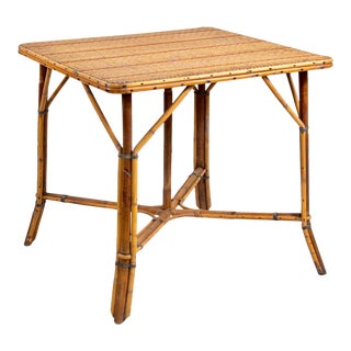 French Mid Century Bamboo Wicker Rattan Game Table For Sale