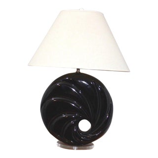 Mid Century Modern Karl Springer Ceramic and Lucite Table Lamp For Sale