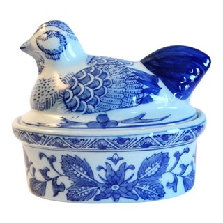 Blue & White Covered Hen Dish For Sale