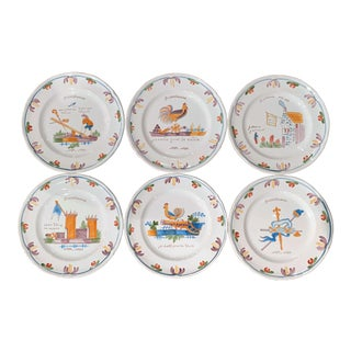 "Set of Six ""Bicentennial French Revolution"" Hand Painted Plates From Brittany For Sale"