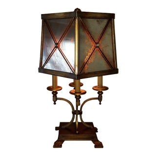 Fine Art Table Lamp With Antiqued Mirrored Shade For Sale