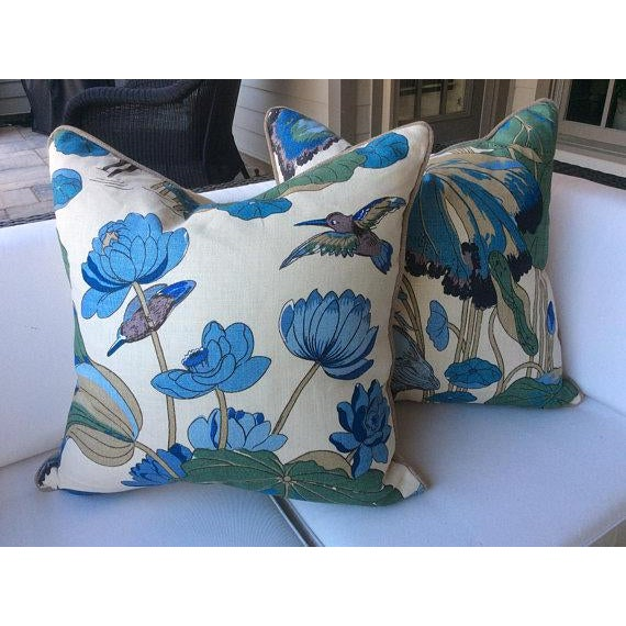 "2010s G. P. And J Baker ""Nympheus"" Aqua Pillows - a Pair For Sale - Image 5 of 5"