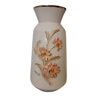 1920s Capodimonte Pink Floral Vase For Sale