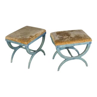 Pair of French Early 20th Century Benches in Blue Painted Frames For Sale