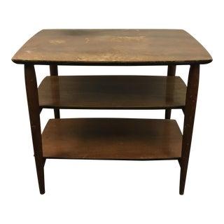 Mid-Century Three Tiered Heritage Walnut Side Table