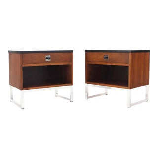 Pair of Walnut Nightstands on Chrome Bases Black Tops w/ Solid Metal Ball Knobs For Sale