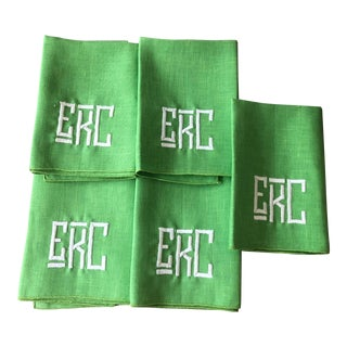 1990s Kelly Green Monogrammed Napkins, For Sale