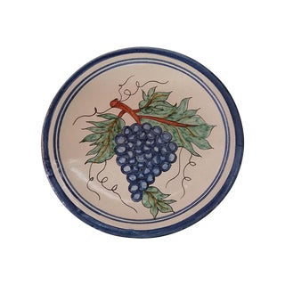 Vintage Mexican Redware Grapes Decorative Plate For Sale